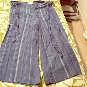 Anthropologie Blue Striped Linen Pants with Tie